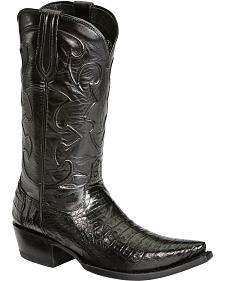 Lucchese Handcrafted 1883 Black Western Crocodile Belly Cowboy Boots - Snip Toe