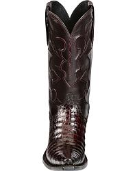 Lucchese Handcrafted Black Cherry Crocodile Belly Cowboy Boots - Snip Toe at Sheplers