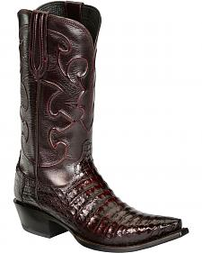 Lucchese Handcrafted 1883 Black Cherry Crocodile Belly Cowboy Boots - Snip Toe