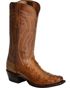 Lucchese Handcrafted 1883 Full Quill Ostrich Western Boots - Square Toe
