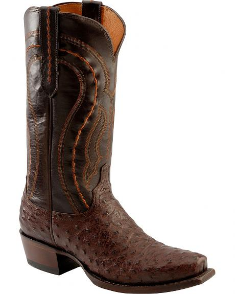 Lucchese Handcrafted 1883 Western Full Quill Ostrich Cowboy Boots - Square Toe