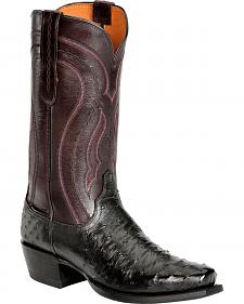Lucchese Handcrafted 1883 Full Quill Ostrich Western Boots - Snoot Toe