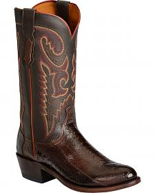 Lucchese Handcrafted 1883 Ostrich Leg Western Cowboy Boots - Medium Toe
