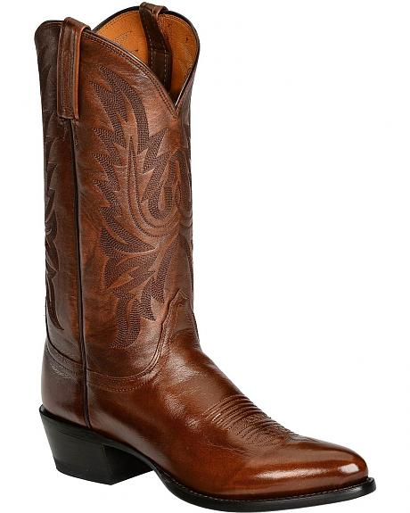 Lucchese Autumn Brown Western Lone Star Calf Cowboy Boots - Round Toe