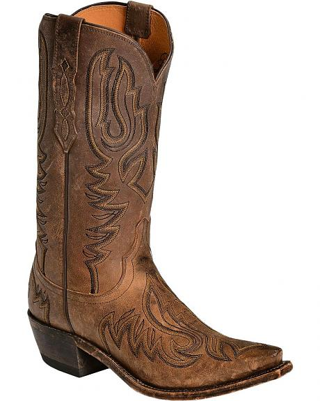 Lucchese Handcrafted 1883 Western Tumbled Saffia Goat Cowboy Boots - Snip Toe