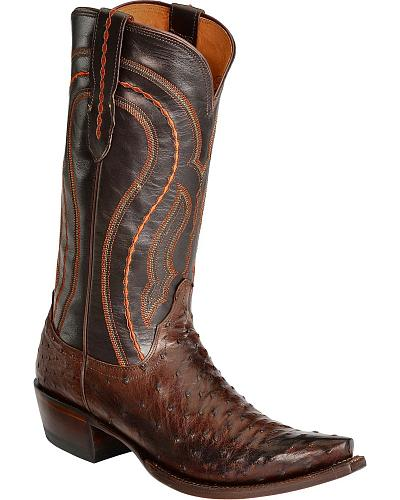 Lucchese Handcrafted 1883 Western Full Quill Ostrich Cowboy Boots Snip Toe Western & Country M1607 S54