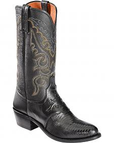 Lucchese Handcrafted 1883 Lizard Inlay Saddle Vamp Cowboy Boots - Medium Toe