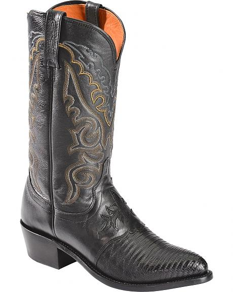 Lucchese Handcrafted 1883 Lizard Inlay Saddle Vamp Cowboy Boots