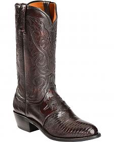 Lucchese Handcrafted 1883 Lizard Vamp & Saddle Inlay Cowboy Boots - Med Toe