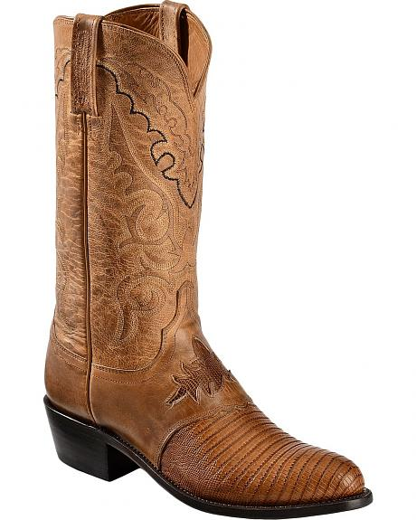 Lucchese Handcrafted 1883 Lizard Inlay Saddle Vamp Cowboy Boots - Med Toe