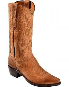 Lucchese Handcrafted 1883 Tan Mad Dog Goatskin Cowboy Boots - Snip Toe