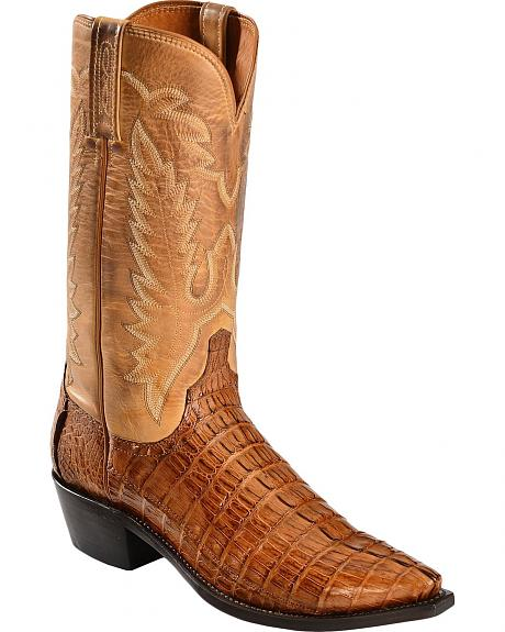 Lucchese Handcrafted 1883 Hornback Caiman Tail Cowboy Boots - Snip Toe