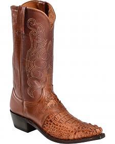 Lucchese Handcrafted 1883 Hornback Caiman Saddle Vamp Cowboy Boots - Snip Toe