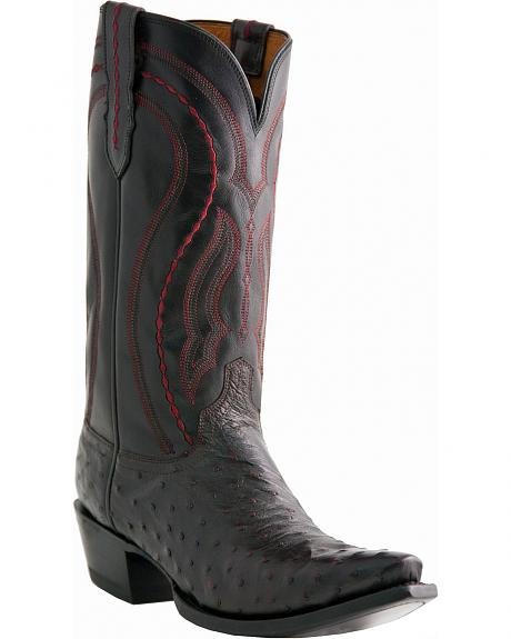 Lucchese Handcrafted 1883 Full Quill Ostrich Cowboy Boots - Snip Toe