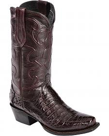 Lucchese Handcrafted 1883 Croc Belly Cowboy Boots - Snoot Toe