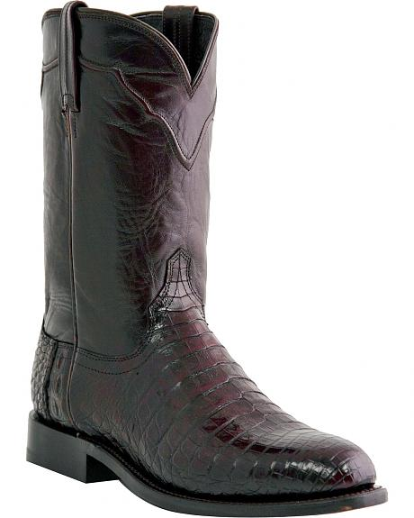 Lucchese Handcrafted 1883 Croc Belly Roper Cowboy Boots - Round Toe