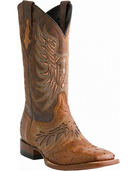 Lucchese Handcrafted 1883 Ostrich Saddle Vamp Horseman Boots - Square Toe