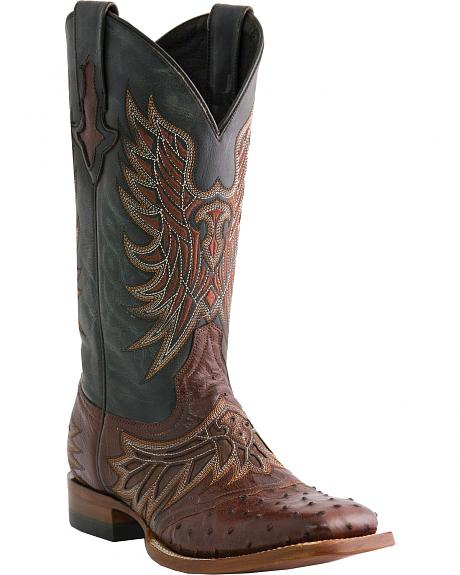 Lucchese Handcrafted 1883 Ostrich Horseman Cowboy Boots - Square Toe