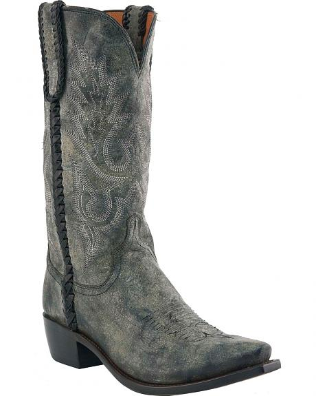 Lucchese Handcrafted 1883 Hand Laced Distressed Calfskin Cowboy Boots - Snip Toe