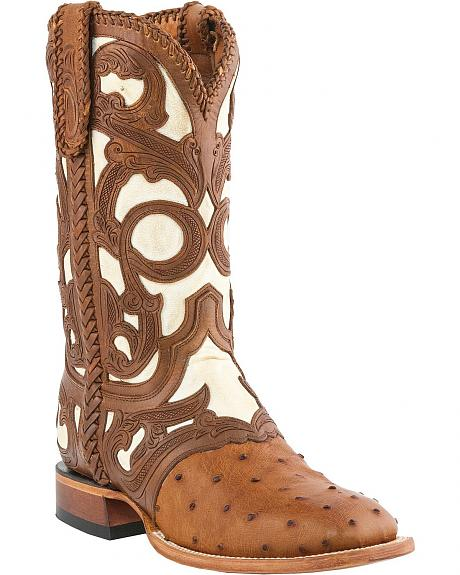 Lucchese Handcrafted 1883 Full Quill Ostrich Hand Laced & Tooled Cowboy Boots