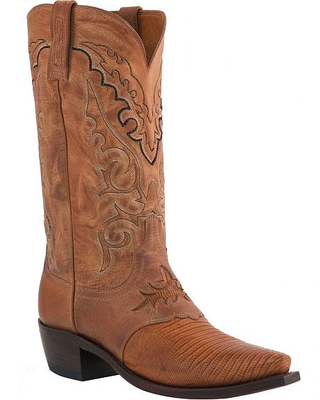 Lucchese Handcrafted 1883 Lizard Saddle Vamp Cowboy Boots - Snip Toe
