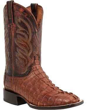 Lucchese 1883 Landon Hornback Caiman Tail Cowboy Boots - Square Toe