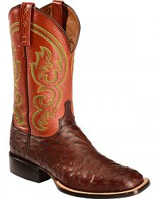 Lucchese Handcrafted 1883 Josiah Full Quill Ostrich Cowboy Boots - Square Toe