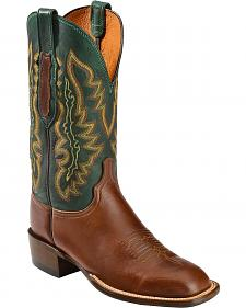 Lucchese Handcrafted 1883 Green Burnished Ranch Hand Cowboy Boots - Square Toe