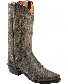 Lucchese Handcrafted 1883 Black Aviator Cowboy Boots - Snip Toe