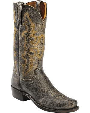 Lucchese Handcrafted 1883 Black Aviator Cowboy Boots - Square Toe