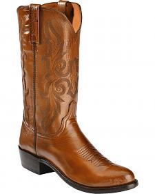 Lucchese Handcrafted 2000 Antique Brown Lonestar Cowboy Boots - Round Toe