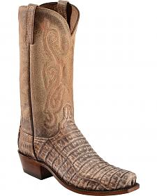 "Lucchese 13"" Belly Caiman Boots - Square Toe - Sheplers Exclusive"