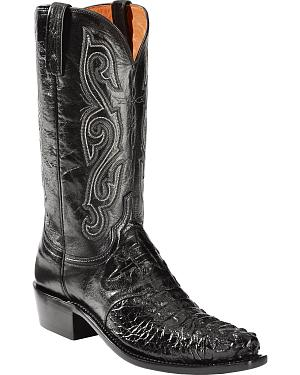 Lucchese Hornback Caiman Cowboy Boots - Snip Toe - Sheplers Exclusive