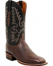 Lucchese Men's Smooth Ostrich Western Boots - Square Toe