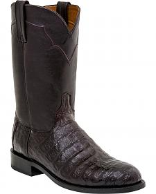 Lucchese Dustin Belly Caiman Roper Boots - Round Toe