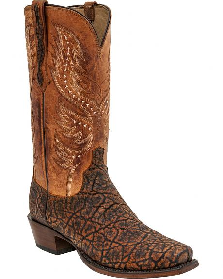 Lucchese Wes Elephant Exotic Western Boots - Square Toe