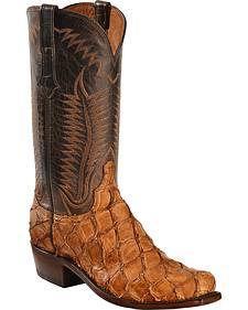Lucchese Cognac Murphy Pirarucu Cowboy Boots - Narrow Square Toe