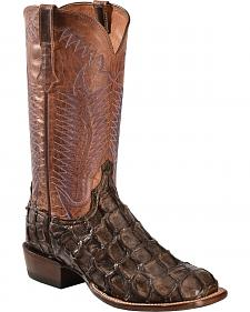 Lucchese Chocolate Brown Brooks Pirarucu Cowboy Boots - Square Toe