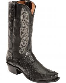 Lucchese Black Quilled Ostrich Neck Cowboy Boots - Square Toe