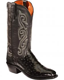 Lucchese Black Quilled Ostrich Exotic Cowboy Boots - Square Toe