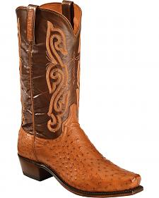 Lucchese Cognac Quilled Ostrich Cowboy Boots - Square Toe