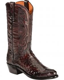 Lucchese Black Cherry Quilled Ostrich Cowboy Boots - Round Toe