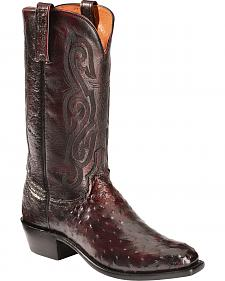 Lucchese Black Cherry Quilled Ostrich Cowboy Boots - Square Toe