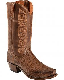 Lucchese Distressed Brown Quilled Ostrich Neck Cowboy Boots - Square Toe