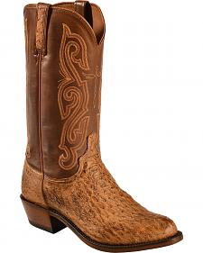 Lucchese Dark Brown Quilled Ostrich Boots - Round Toe