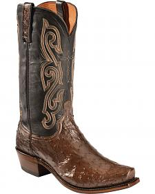Lucchese Black and Brown Quilled Ostrich Cowboy Boots - Square Toe