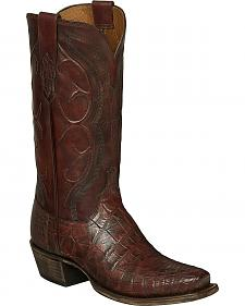 Lucchese Brick Giant Gator Van Cowboy Boots - Square Toe