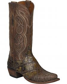 Lucchese Chocolate Giant Gator Van Cowboy Boots - Square Toe