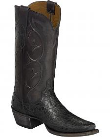 Lucchese Dark Grey Van Giant Gator Cowboy Boots - Narrow Square Toe