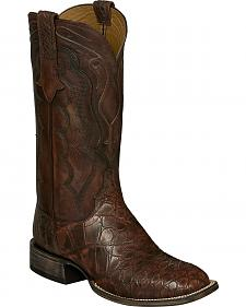 Lucchese Brick Giant Gator Vince Cowboy Boots - Square Toe
